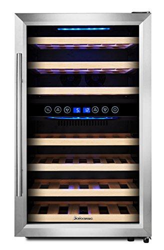 KRC-45BSS Kompressor Weinkühlschrank, 120 Liter, 45 Flaschen (bis zu 310 mm Höhe), 2 Zonen...