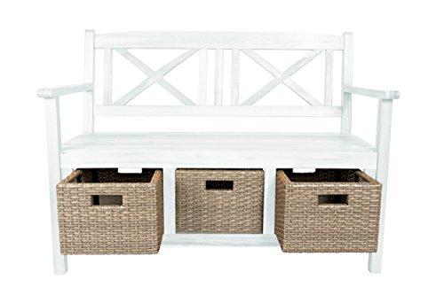 SAM® Gartenbank Flora aus Akazie, weiß lackiert, inklusive 3 x Polyrattan-Korb, Garten-Möbel aus Holz, 121 x 60 cm, FSC® 100% zertifiziert, massive Holzbank, pflegeleichtes Unikat