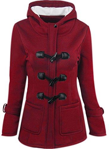 Sudadera Mujer Invierno Abrigo Casual Manga Larga Sudaderas con Capucha Botón de la Bocina Cremallera Chaqueta de Capa Jacket Moda Abrigos Señora Parka Dama Pullover Capa Rojo 6XL