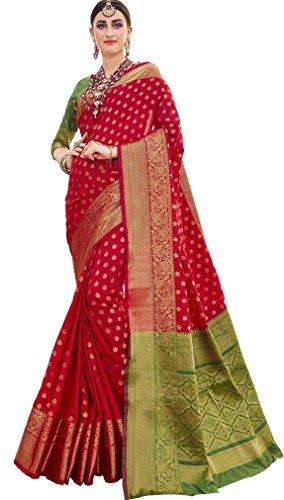 Ethnicjunction Silk Cotton Saree (Ej1178-07978, Kumkum Red, Free Size)