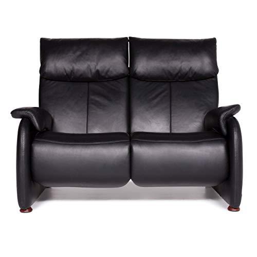 Himolla Designer Leder Sofa Schwarz Zweisitzer Funktion Couch #8892