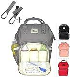 XL Baby Wickel-Rucksack :: Tasche groß inkl. 2 Haken :: Wickeltasche für Reise, Ausflüge oder Unterwegs :: 24 Liter Volumen :: Lässige Windel-Tasche :: Umhänge-Baby-Tasche GRAU