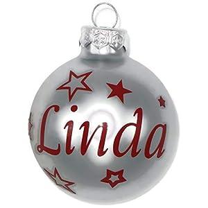Weihnachtskugel mit Name aus Glas 6cm Wunschtext Silber Matt