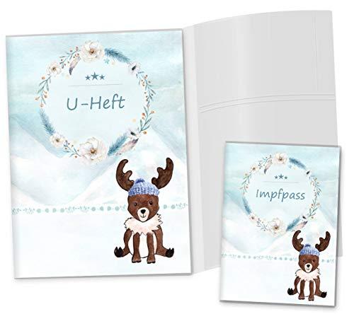 U-Heft Hülle 3-teilig Set Nordpol Untersuchungsheft Hülle und Impfpasshülle Geschenkidee personalisierbar mit Namen & Geburtsdatum (U-Heft Set 3-teilig ohne Personalisierung, Elch) -