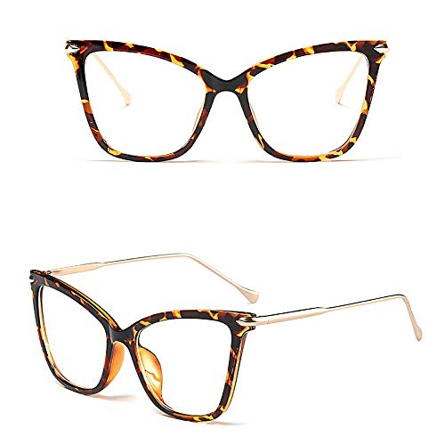 BAACHANG Frauen Cat Eyes Brillen Optische Linse, Stilvoll, Party (Farbe : Leopard Print)