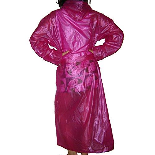 Qualité lisse en plastique souple Voir à travers en vinyle PVC imperméable à capuche unisexe Mac Manteau imperméable Longueur complète Rouge - Rouge