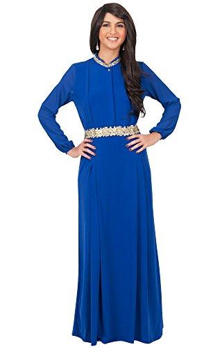 KOH KOH® Damen Petite Langarm Empire Maxikleid Spitze Taille Elegante Abend Cocktail Dress, Farbe Kobalt / Royalblau, Größe S / Small (Spitze Cue Kostüm)