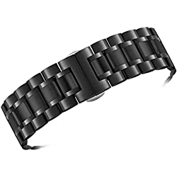 17mm Women's Luxurious 316L Black Stainless Steel Metal Watch Wristbands Straps Straight End Quick Release Clasp