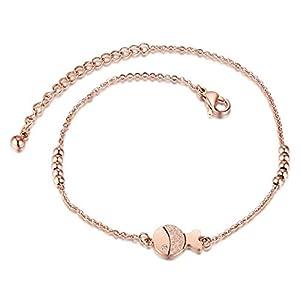 Daesar Edelstahl Fußkette Boho Lucky Perlen Fisch Fußketten Damen Rosegold