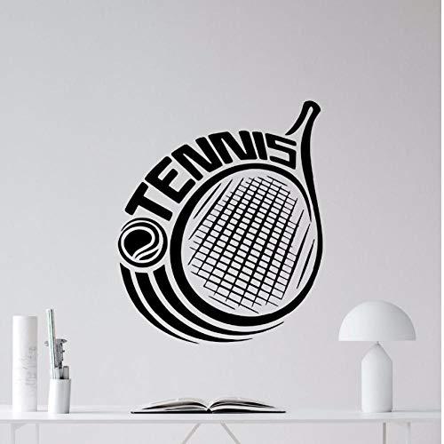Qvzxn Tennis Wandtattoo Schläger Logo Sport Vinyl Wandaufkleber Abnehmbare Tennisball Vinyl Sport Wandtattoo Gym Decor 42X50 Cm -
