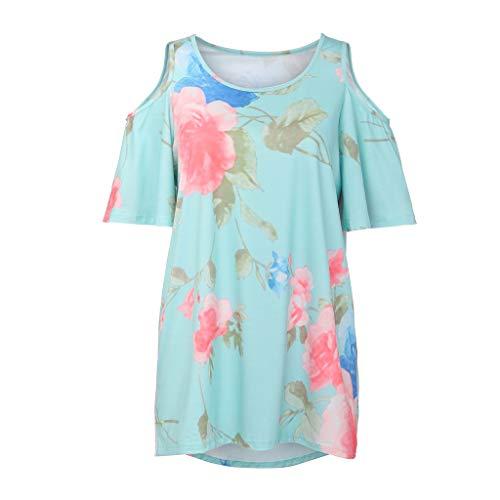 TWIFER Damen Schulterfreies T Shirt Mit Blumenmuster Lässige Bluse Mit Losen Spitzen ()