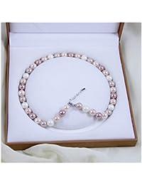 Schmuckwilly Muschelkernperlen Perlenkette Perlen Collier - multifarbig Hochwertige Damen Halskette 10mm mk10mm205