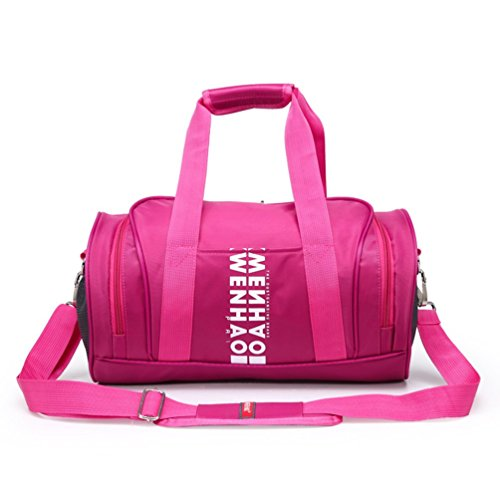 wenhao Travel Small Duffel Sports Gym Gepäck Tasche, damen, Pink with shoes compartment rose