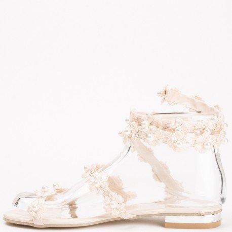Ideal Shoes - Sandales style spartiates décorées de fleurs en dentelle et perles Sofia Beige