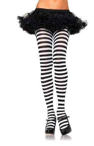 Queen Costume Playing Card (Leg Avenue Strumpfhose Black White Harlequin,)