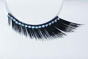 Eulenspiegel 000908 - pestañas artificiales - Estándar negro con cinta de diamantes de imitación - 2 x 1 piezas