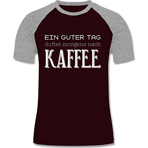 Küche - Ein guter Tag duftet morgens nach Kaffee - zweifarbiges Baseballshirt für Männer Burgundrot/Grau meliert