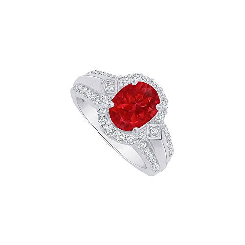 Oval Ruby and CZ Halo Engagement Ring Sterling Silver