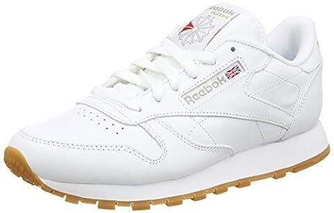 Reebok Damen Classic Leather Sneakers, Weiß (Int-White/Gum), 39 EU