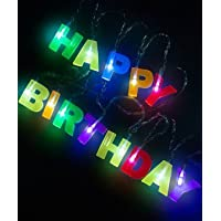 Party Propz Happy Birthday Lights - 13 LED Letter Battery Operated String Lights 6ft Birthday Party Decor Supplies for Indoor, Home, House, Christmas Lighting, Birthday Decorations (Multi Color)
