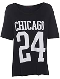 Ladies Loose Fit Chicago 24 Print Summer T-Shirt Casual Top Size