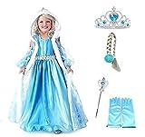 Taglia 100 - 2 - 3 anni - Costume Elsa - Cappuccio - Accessori - Corona - Bacchetta - Guanti - Treccia - Bambina - Frozen - Colore blu - Travestimento - Carnevale - Halloween - Cosplay - Principessa