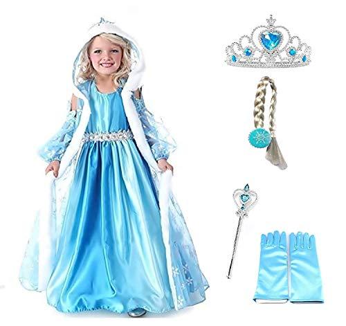 Taglia 130 - 6 - 7 anni - Costume Elsa - Cappuccio - Accessori - Corona - Bacchetta - Guanti - Treccia - Bambina - Frozen - Colore blu - Travestimento - Carnevale - Halloween - Cosplay - Principessa