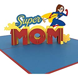 """Tarjeta 3D Día de la Madre""""Super Mom"""" – Divertida tarjeta 3D para la mejor mamá del mundo – Tarjeta de cumpleaños hecha a mano para madre, incluye sobre"""