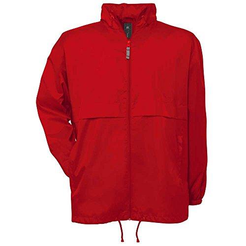 B&C Herren Air Windjacke wasserdicht zusammenfaltbar gefütterte Jacke Red*