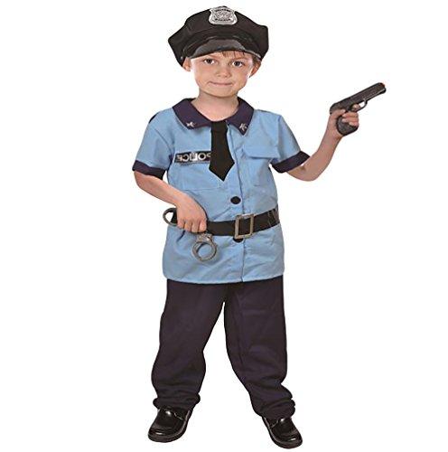 NiSeng faschingskostüm polizistin kinderkostüme Polizei Kostüm für Kinder mit Mütze Handschellen und Gewehr Blau M(Größe (Junge Polizistin Kostüme)