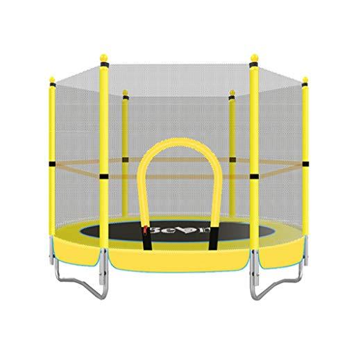 Unbekannt Lxn 60-Zoll-Kinder-Runde Mini-Trampolin mit Gehäuse und Safety Jumping Mat, Gelb, Gewichtskapazität bis zu 330 £, Durable Steel Frame