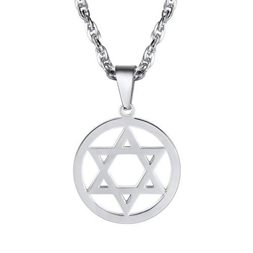 PROSTEEL Herren Anhänger Halskette Edelstahl Jüdischen Davidstern Anhänger Edelstahl Hexagramm Symbol des Judentums mit 55cm Kette für Männer Jungen, Silber