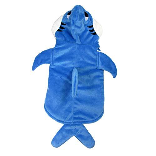 F Fityle Lustiger Hund Katze Hai/Goldfisch Form Kostü Haustier Halloween Cosplay Kleid - Blau Haifisch, - Blau Hai Kostüm Für Katzen