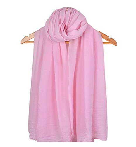 Oem leisial donne sciarpa avvolgere signora tinta unita morbido colore puro biancheria di cotone protezione solare stola lunga a scialle per viaggio outdoor spiaggia(rosa chiaro)