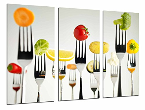 Cuadro Moderno Fotografico Cocina Restaurante, Tenedores Fruta Verdura, Blanco, 97 x 63 cm, Ref. 26972