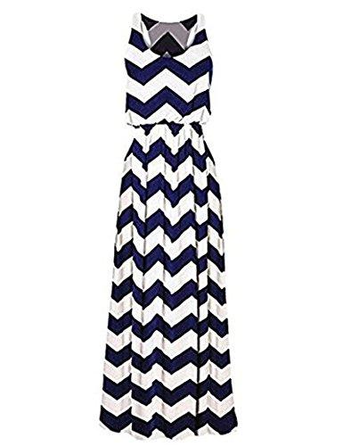 Sommerkleid Damen Maxikleid Strandkleider Damen Lang Partykleid Maxi Kleider mit Zackenmuster Elegant (M, W-blau) (Pareo Langer)