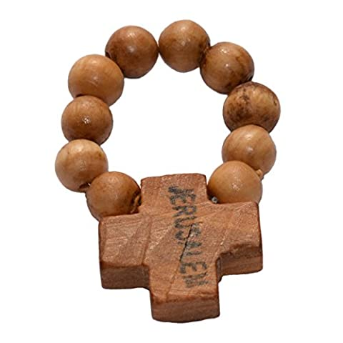 Chapelet Dizainier en bois d'olivier - Jérusalem - perles Ø 7mm montées sur corde élastique