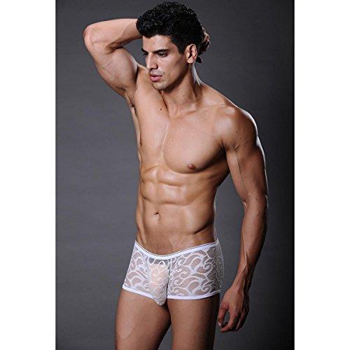 Xuba Herren Boxershort Sexy Low Rise Retroshort Unterwäsche Netz Spitze Unterhosen Boxer Briefs Trunks Weiß