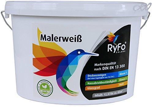 RyFo Colors Malerweiß 12,5l (Größe wählbar) - Wandfarbe weiß, hohe Deckkraft, Premium-Innen-Farbe, airless verarbeitbar, Deckkraft Klasse 1