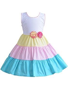 Cinda Farbige Reifen-Baumwolle-Party-Kleid Mädchen