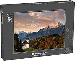 fotopuzzle.de Puzzle 2000 Teile Maria-Gern-Kirche und Watzmann-Berg in den bayerischen Alpen in Deutschland