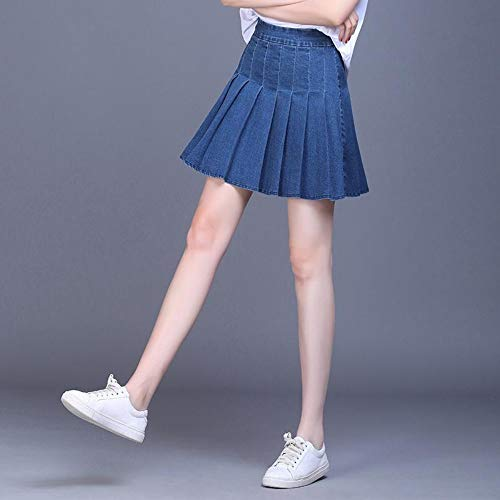 HEHEAB Rock,Denim Polyester Frau Rock Sommer Hohe Taille Jeans Faltenrock Plus Größe Mit Shorts, M -