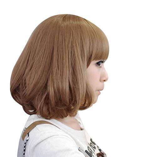 Igemy Frauen Kurze Lockige Synthetische Perücke Volle Spitzeperücke Mode Kawaii Gewellte Perücke (Braun) -