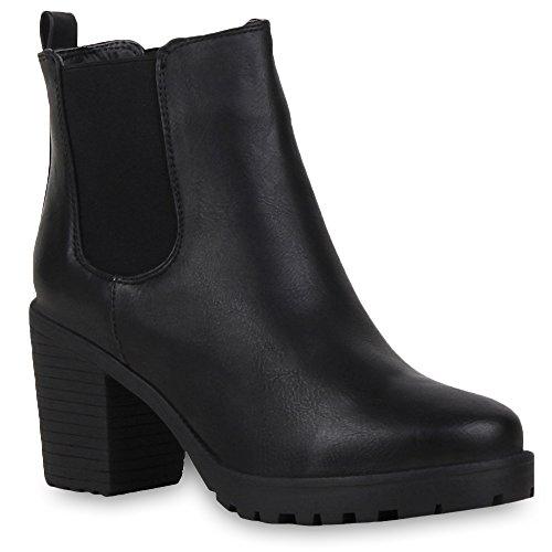 Booties Damen Stiefeletten Plateau Chelsea Boots Plateau Blockabsatz Leder-Optik Glitzer Schuhe 57790 Schwarz Avelar 38 Flandell
