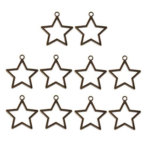 FURU Metals Frames Formen,10 Stücke Stern Anhänger Offene Lünette Einstellung Leere Rahmen Harz Blank Für Schmuck Machen -