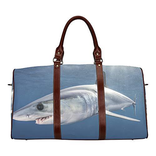 Reisetasche Big Swimming Shark In The Sea wasserdichte Weekender-Tasche Reisetasche Frauen Damen-Einkaufstasche Mit Mikrofaser-Leder-Gepäcktasche -