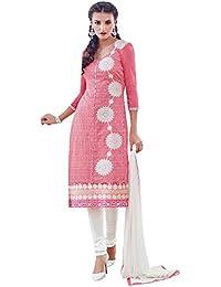 Salwar Suit ( Vaikunth Fabrics Pink And White Embroiderd Chanderi Party Wear Salwar Suit )