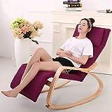 Eeayyygch Sofá Perezoso Relax Rocking Chair Legs 5 Archivos de Ajuste Indoor Solid Wood Cloth 66X120X87cm (Color: Big Red) (Color : Púrpura, tamaño : -)