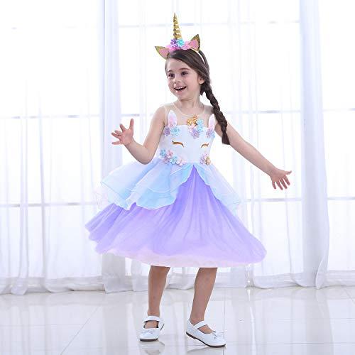 LZH Mädchen Kleid Einhorn Party Blume Rüschen Cosplay Geburtstag Prinzessin Kleid