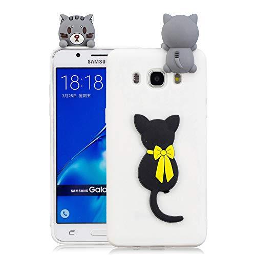 HongYong Kawaii Einhorn Handy Hülle für Samsung Galaxy J5 (2016) / J510 Hülle Silikon 3D Hüllen Tier Muster Bumper Design Ultra Dünn Slim Handyhülle Schutzhülle Case Cover - Süße Katze